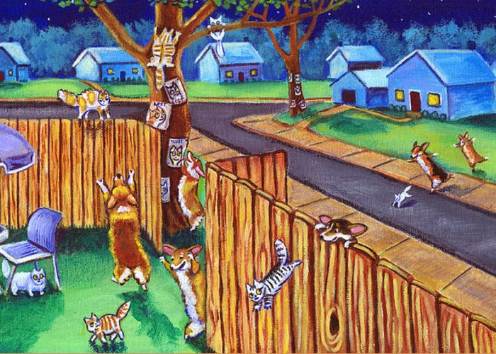 Pembroke Welsh Corgi Greeting Card featuring the painting Herding Cats - Pembroke Welsh Corgi by Lyn Cook
