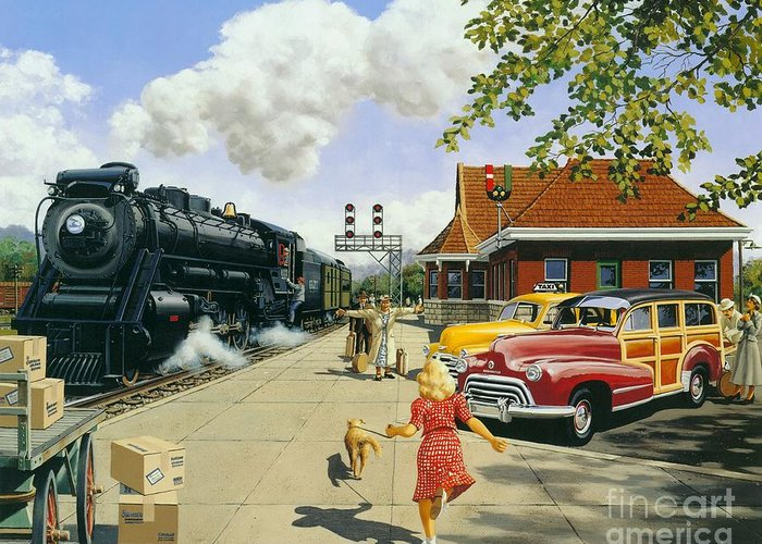 Train Station Greeting Card featuring the painting Here At Last by Michael Swanson