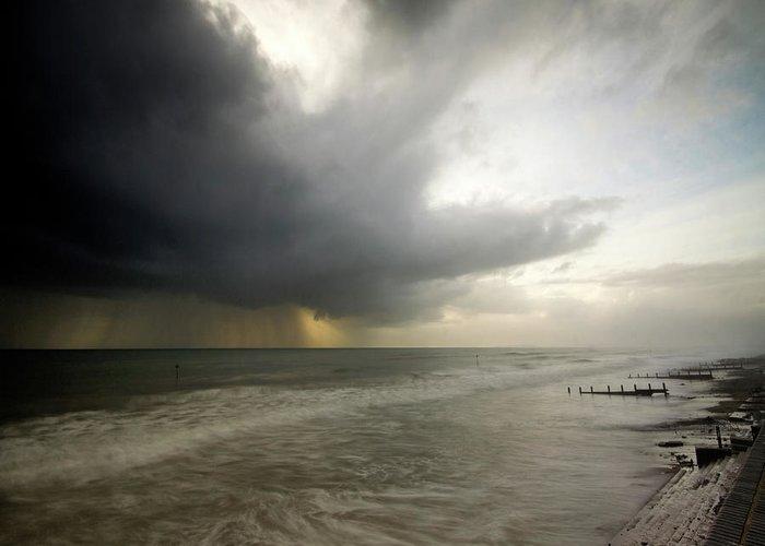 Tywyn Greeting Card featuring the photograph Here Comes The Rain by Angel Ciesniarska