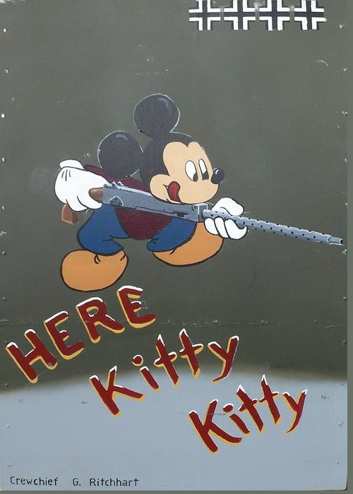 Nose Art Greeting Card featuring the painting Here Kitty Kitty by Gene Ritchhart