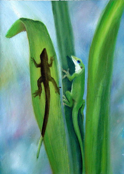 Geicko Greeting Card featuring the painting Here Lizard Lizard by Darlene Green