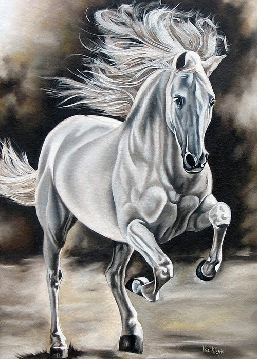 Horse Greeting Card featuring the painting Hereje by Ilse Kleyn