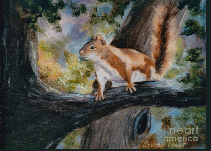Squirrel Greeting Card featuring the painting Here's Looking At You by Brenda Thour