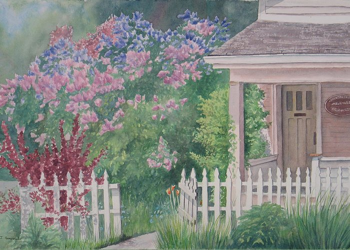 Heritage Greeting Card featuring the painting Heritage House by Debbie Homewood