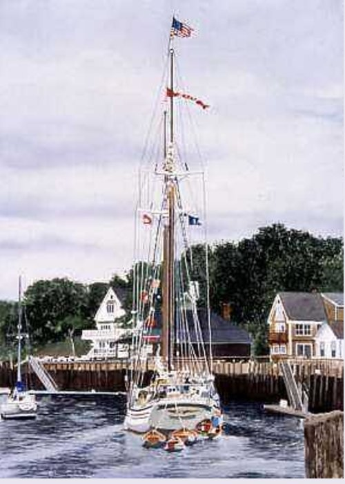 Windjammer Greeting Card featuring the painting Heritage by Norton Linda