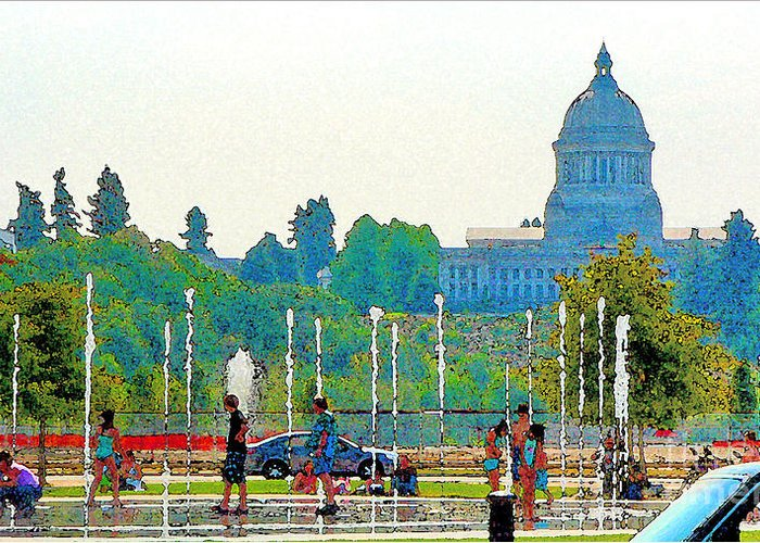 Park Greeting Card featuring the photograph Heritage Park Fountain by Larry Keahey