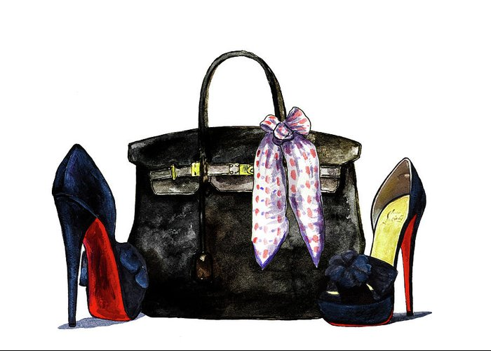 Hermes bag with shoes greeting card for sale by green palace hermes greeting card featuring the painting hermes bag with shoes by green palace m4hsunfo