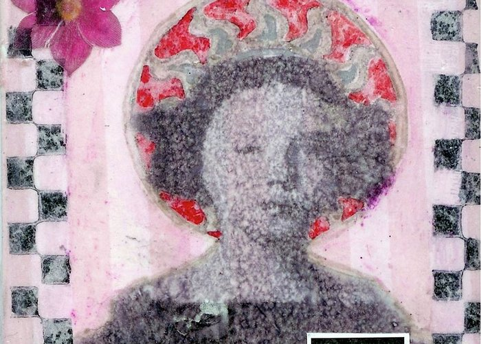 Pink Greeting Card featuring the mixed media Hero by Desiree Paquette