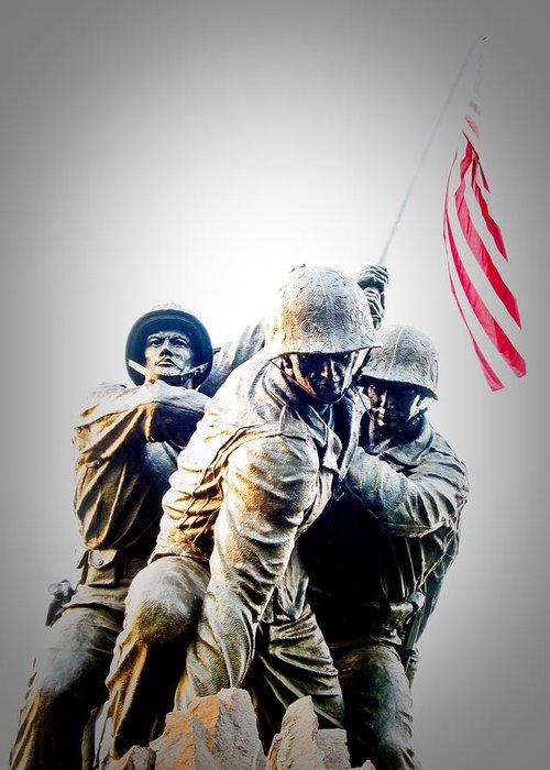 Iwo Jima Memorial Greeting Card featuring the photograph Heroes by Julie Niemela