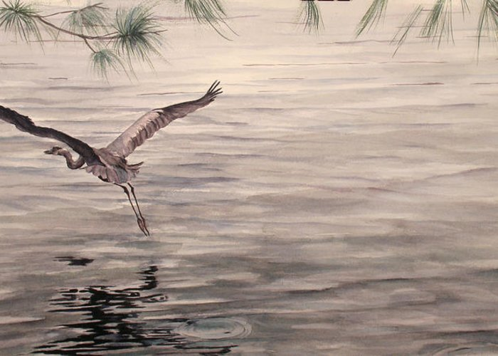 Heron Greeting Card featuring the painting Heron In Flight by Debbie Homewood