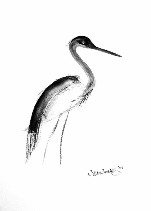 Sumi-e Greeting Card featuring the painting Heron by Sibby S