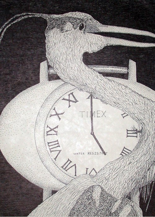 Large Clock Drawings Greeting Cards