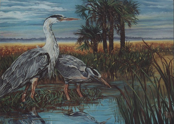 Herons Greeting Card featuring the painting Herons by Diann Baggett