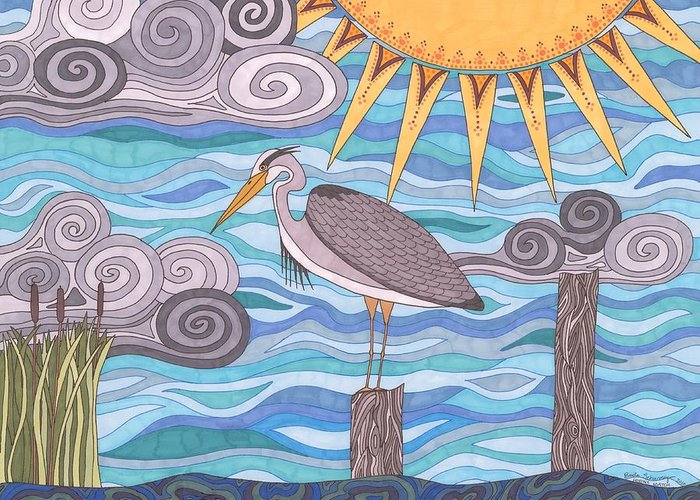 Heron Greeting Card featuring the drawing Heron's Watch by Pamela Schiermeyer