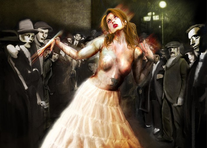 Abney Park Greeting Card featuring the painting Herr Drosselmeyer's Doll by Mandem