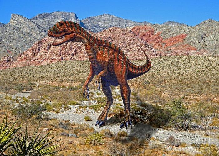 Dinosaur Art Greeting Card featuring the mixed media Herrarsaurus In Desert by Frank Wilson