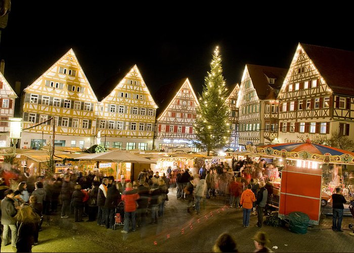 Christmas Market Greeting Card featuring the photograph Herrenberg Christmas Market At Night by Greg Dale
