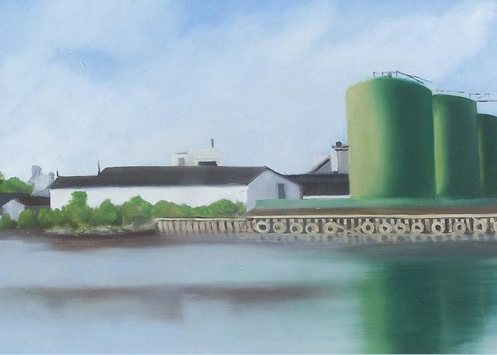 Industrial Landscape Painting Greeting Card featuring the painting Hess Tanks From Costco by Ron Erickson
