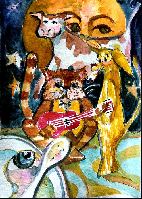 Cat Greeting Card featuring the painting Hey Diddle Diddle by Mindy Newman