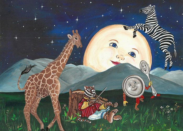 Zebra Greeting Card featuring the painting Hey Diddle Diddle by Sundara Fawn