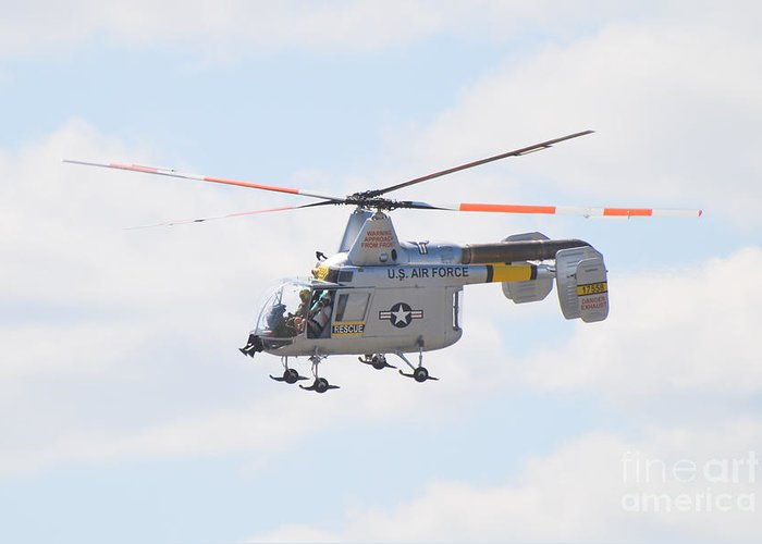 Helicopter Greeting Card featuring the photograph Hh-43b Huskie by Larry Keahey