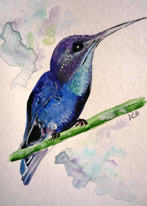 Hummingbird Painting Bird Painting Tropical Caribbean Painting Watercolor Painting Greeting Card featuring the painting hHUMMINGBIRD 2  by Karin Dawn Kelshall- Best