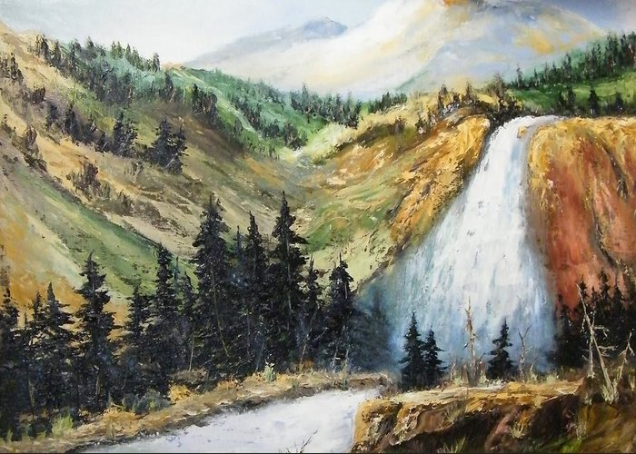 Greeting Card featuring the painting Hiawatha Falls by Larry Doyle
