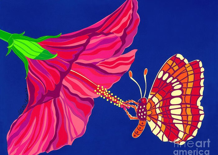Nature Greeting Card featuring the drawing Hibiscus And Butterfly by Lucyna A M Green