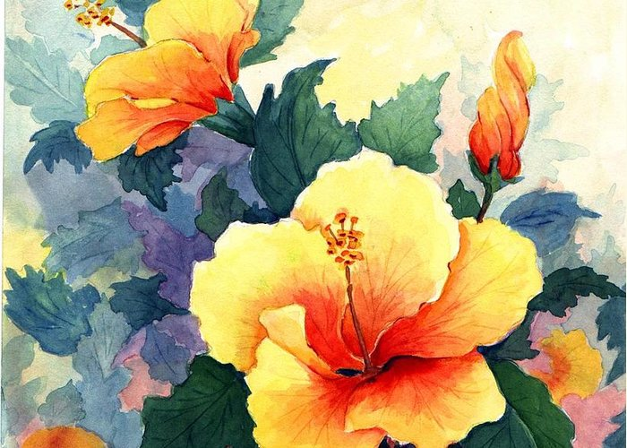 Hibiscus Greeting Card featuring the painting Hibiscus by Colleen Marquis