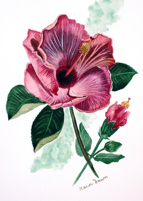 Flora Painting L Hibiscus Painting Pink Flower Painting Greeting Card Painting Greeting Card featuring the painting Hibiscus Dusky Rose by Karin Dawn Kelshall- Best