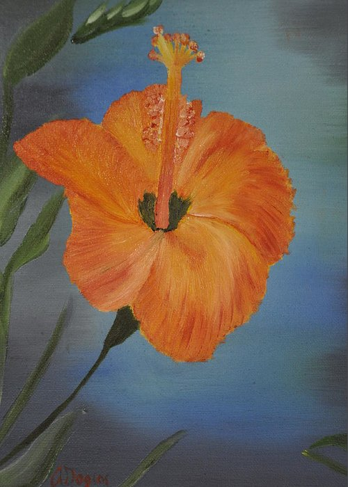 Flower Greeting Card featuring the painting Hibiscus Flower by Albert Douglas