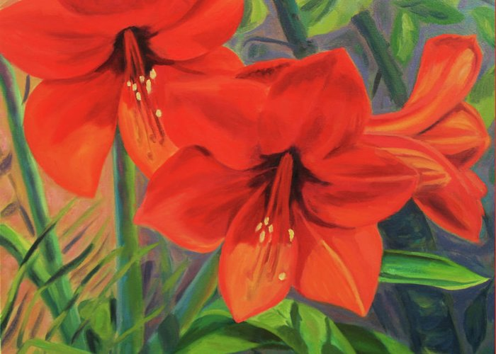 Hibiscus Greeting Card featuring the painting Hibiscus by Jane Simonson