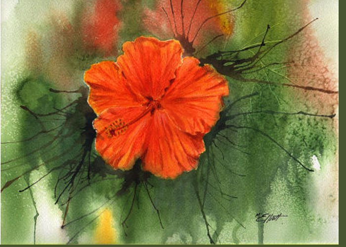 Hibiscus Greeting Card featuring the painting Hibiscus by Marsha Elliott