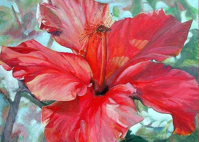 Floral Painting Greeting Card featuring the painting Hibiscus Rouge by Muriel Dolemieux
