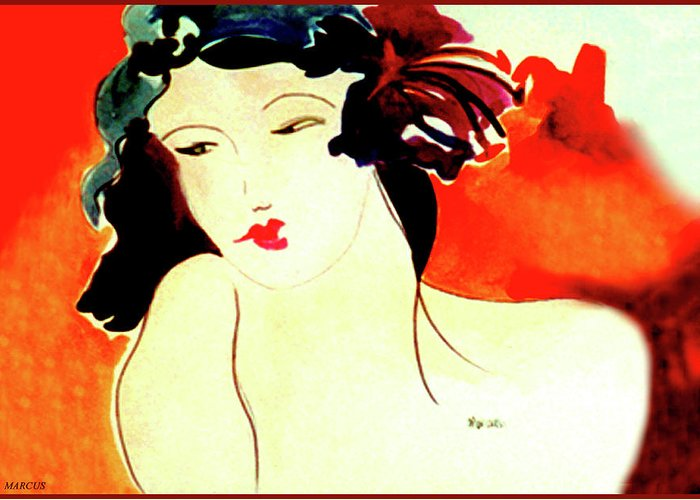 Female Greeting Card featuring the painting Hibiscus Woman by Leslie Marcus
