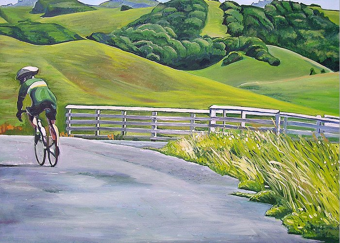 Bike Greeting Card featuring the painting Hicks Valley Bike Ride by Colleen Proppe