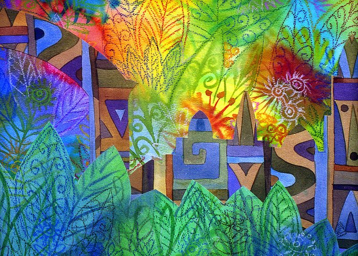 Jungle Mysterious Tropical Lost City Caribbean Bright Colours Greeting Card featuring the painting Hidden City by Jennifer Baird