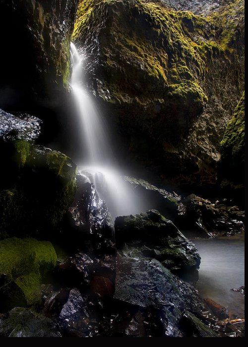 Waterfall Greeting Card featuring the photograph Hidden Falls by Mike Dawson