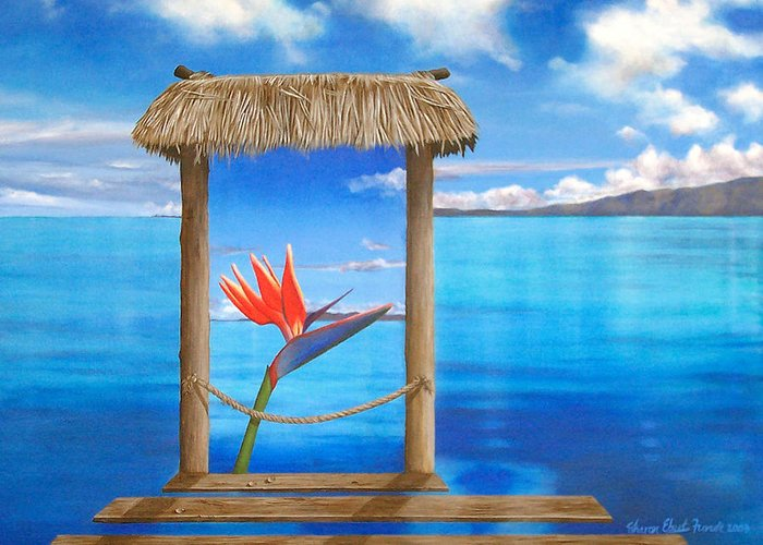 Surreal Painting Greeting Card featuring the painting Hidden Paradise by Sharon Ebert