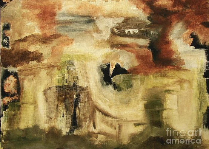 Abstract Greeting Card featuring the painting Hidden Places - Contemporary Modern Abstract Art Painting by Itaya Lightbourne