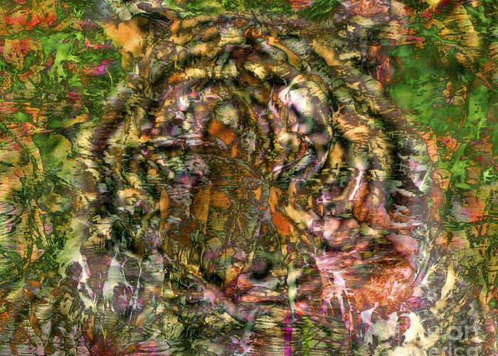 Tiger Greeting Card featuring the digital art Hidden Tiger by Chuck Brittenham