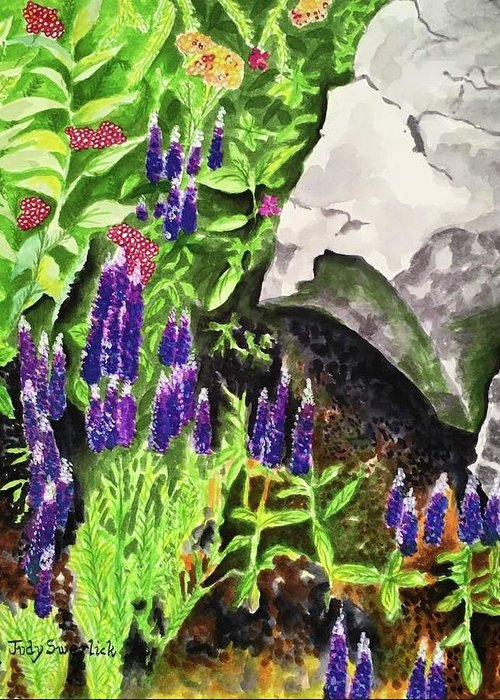 Landscape Greeting Card featuring the painting Hidden Treasures by Judy Swerlick
