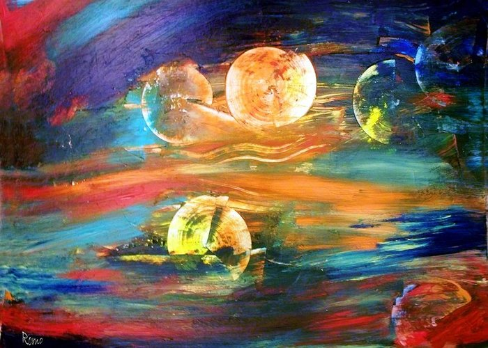 Abstract Greeting Card featuring the painting Hidden Worlds by Robin Monroe