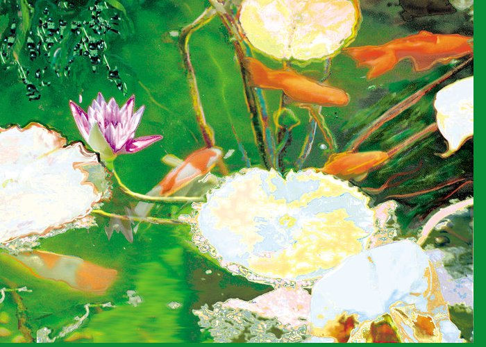 Koi Greeting Card featuring the photograph Hide And Seek Kio In The Green Pond by Judy Loper