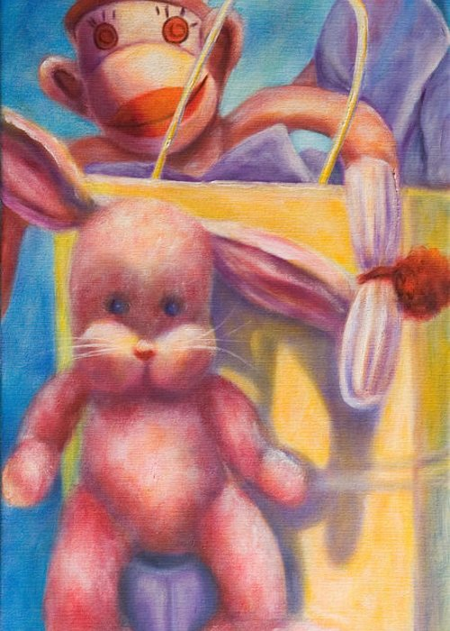 Children Greeting Card featuring the painting Hide And Seek by Shannon Grissom