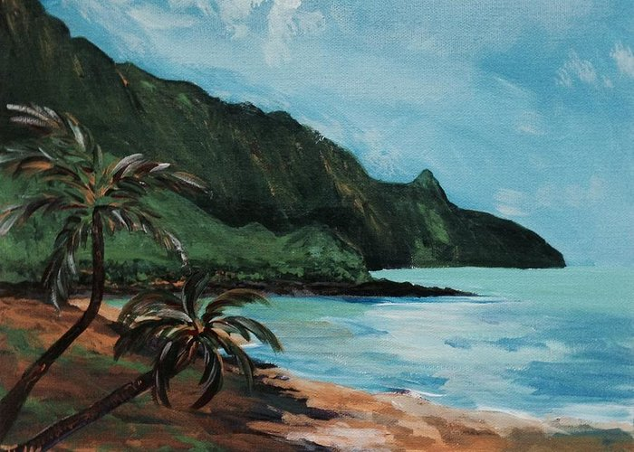 Landscape Greeting Card featuring the painting Hideaways Beach by Tanize Kotsol