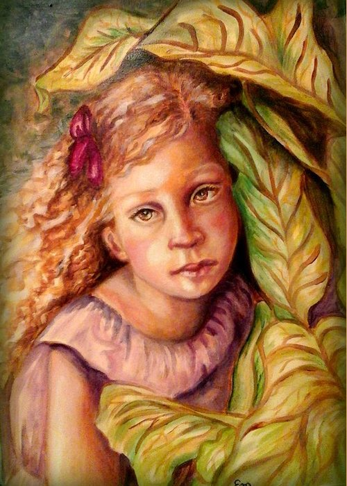 Little Girl Greeting Card featuring the painting Hiding by Em Scott