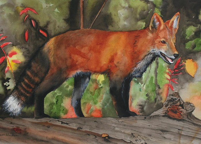 Fox Greeting Card featuring the painting Hiding In Plain Sight by Jean Blackmer