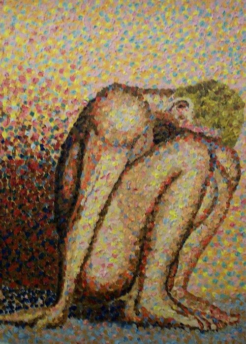 Nudes Greeting Card featuring the painting Hiding by Mats Eriksson