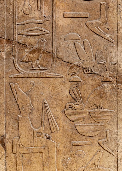 Africa Greeting Card featuring the photograph Hieroglyphs On Ancient Carving by Jane Rix